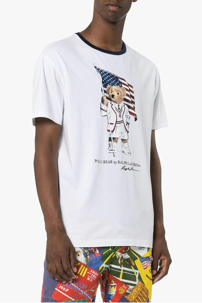 6666e9f0 Polo Ralph Lauren White Bear Flag Hoodie & T-shirt Polo bear American flag  collegiate