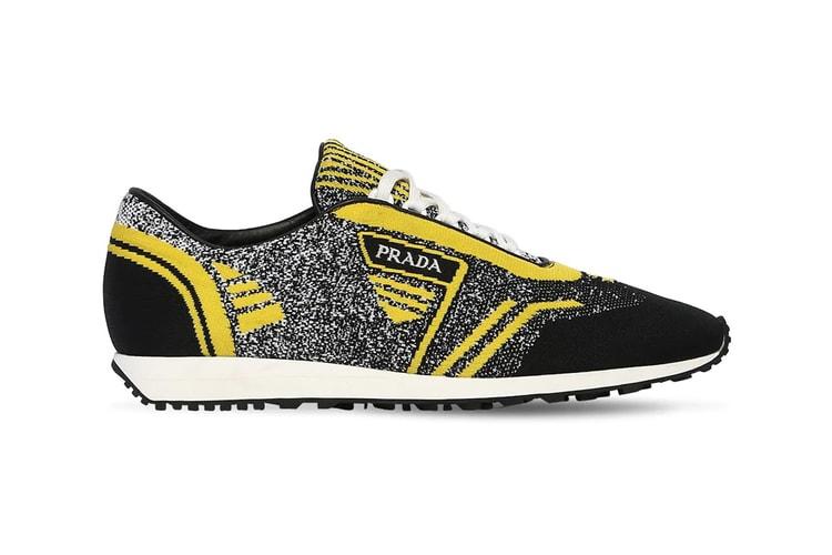 e99dc3725c6413 Prada s Cozy Knit Running Sneakers Get the Bumblebee Effect