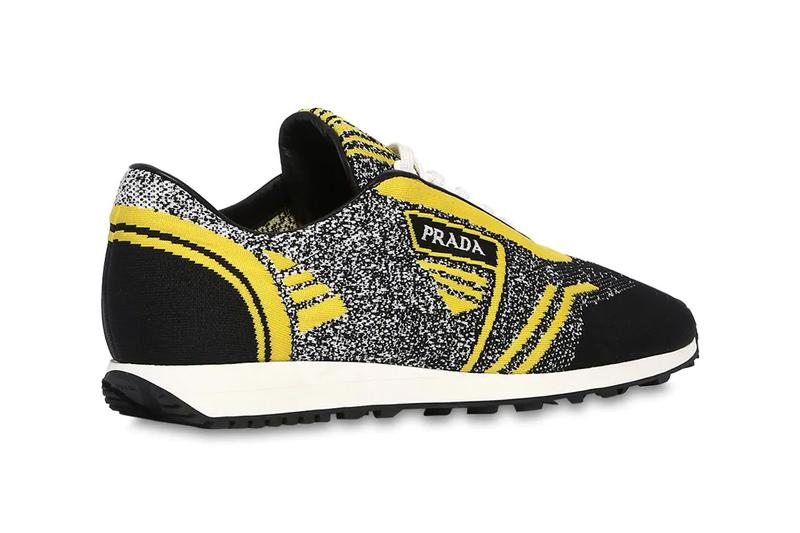 prada knit running sneakers black yellow colorway release spring 2019