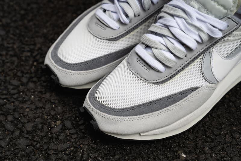 sacai x Nike LDWaffle Daybreak Collab On-Feet sneaker shoe release date info buy colorways look closer detail black white grey pink green blue multi BV0073-300 BV0073-400
