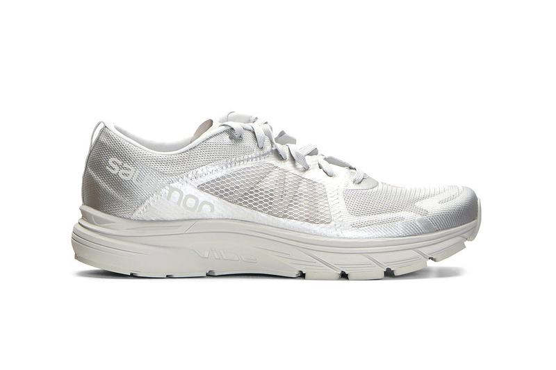 Satisfy x Salomon Sonic RA Max Sneakers Black Silver Running Technical Collaboration French Activewear Brand OrthoLite® memory foam lining logo prints lightweight rubber Vibe® midsole sol