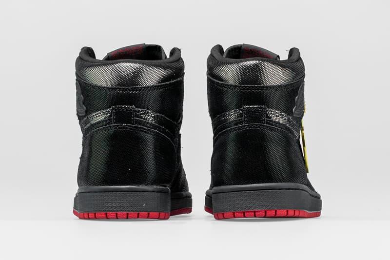 """Shoe Palace Air Jordan 1 HI OG """"SP Gina"""" black leather og teacher and community leader bay area sp gina michael jordan scantron test apple tag"""