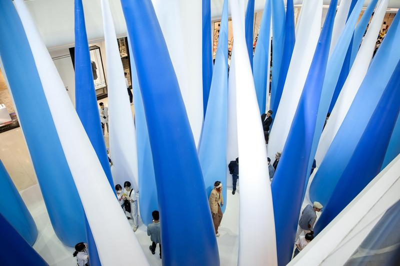 snarkitecture tilting forest central embassy bangkok interactive installation sculpture