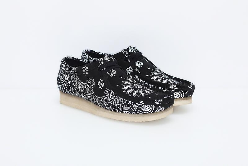 Supreme x Clarks Originals Summer Wallabee Collection paisley print bandana print pattern red blue Clarks England Originals footwear crepe sole British