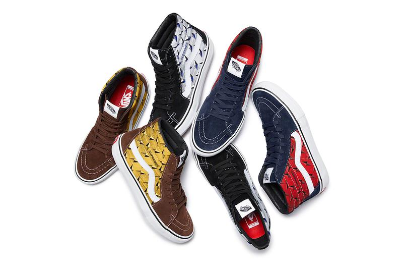"""Supreme x Vans SS19 """"Diamond Plate"""" Collection Sk8-Hi Pro Slip-On Pro Red Yellow White Suede Canvas"""