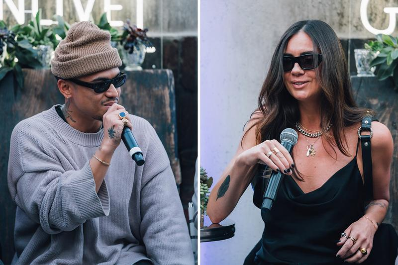 Rhuigi Villaseñor, Lola Plaku and Holly Jovenall, rhude, billy, los angeles, party, whiskey, hotel figueroa, courtney kenefick, panel