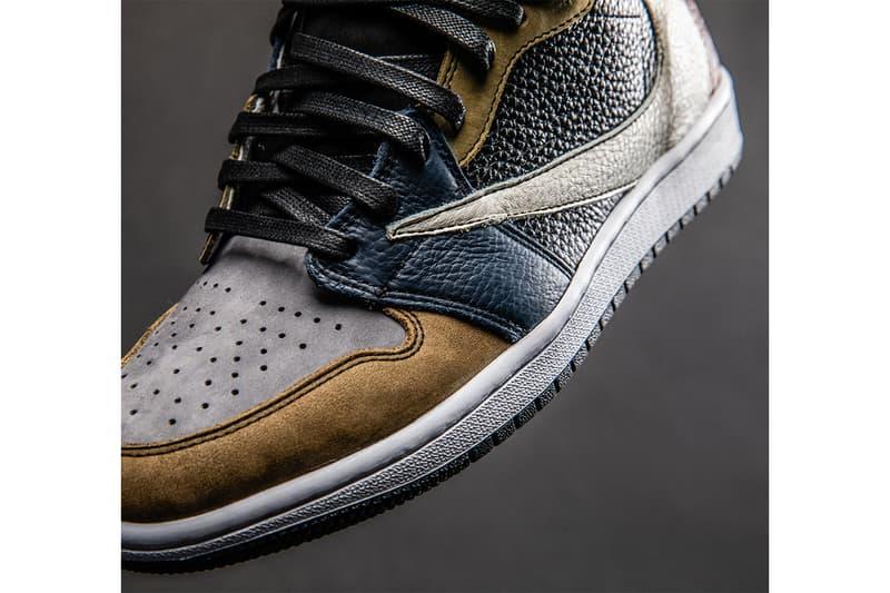 "the shoe surgeon Earth Tone ""Scrap Leather"" TS AJ1 release info travis scott air jordan 1 cactus jack sneaker customs nike jordan brand michael drop date info price"