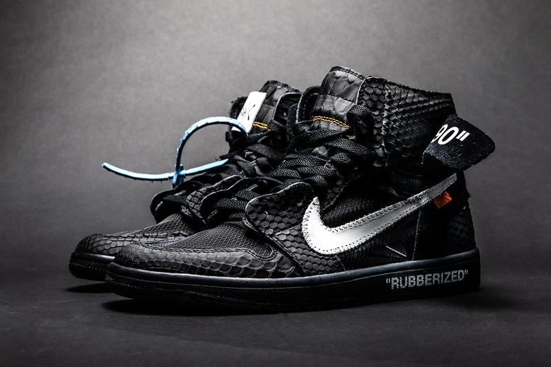 "The Shoe Surgeon Air Jordan 1 ""Rubberized Python"" ""Lux"" custom sneakers jordan brand nike aj1 premium materials black white blue tag off-white drop date release info pricing price"