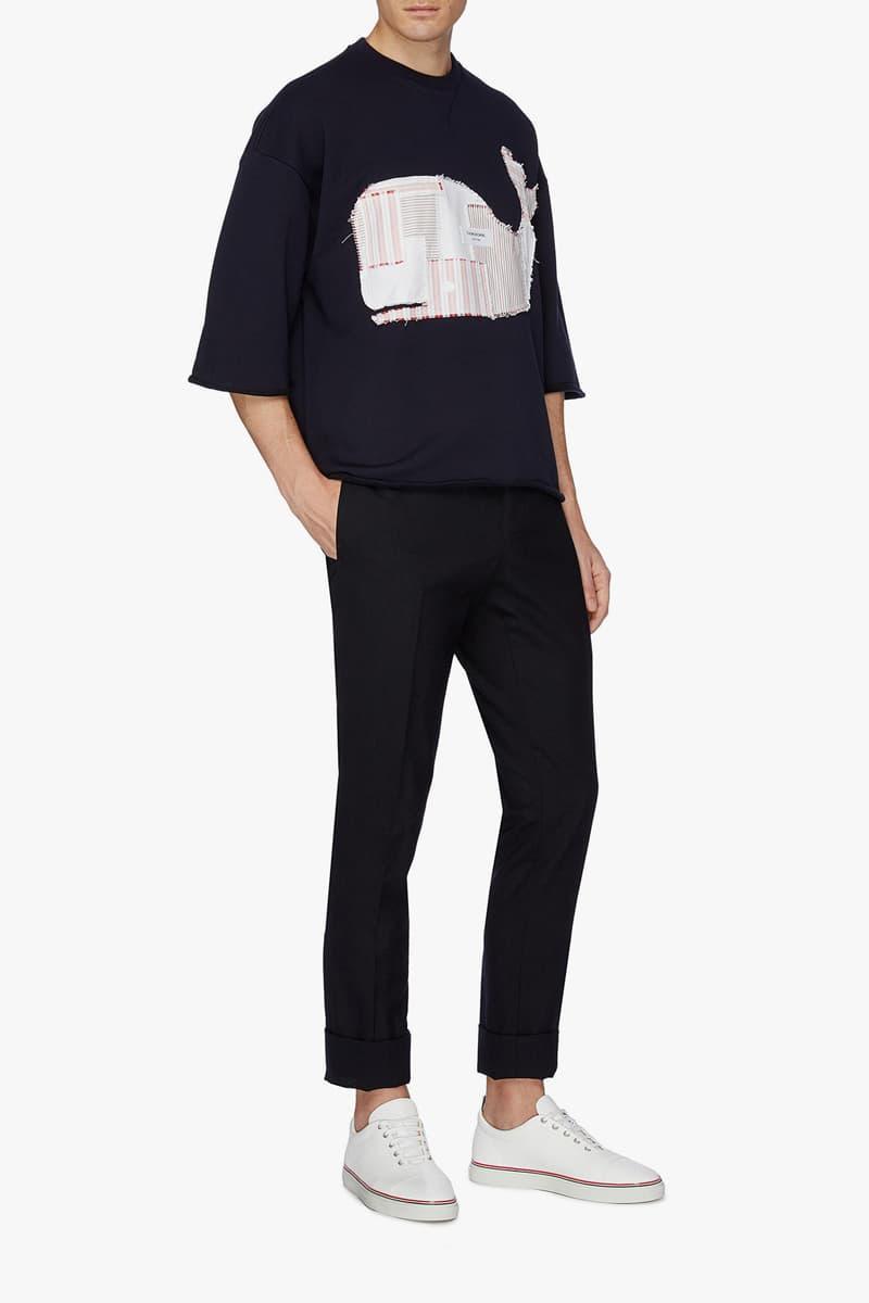 THOM BROWNE Patchwork Whale Appliqué T-shirt Spring/Summer 2019
