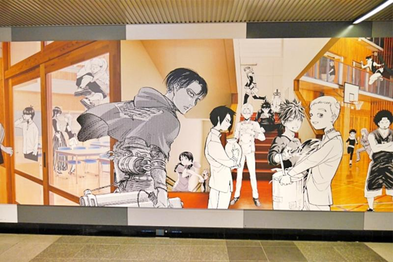 Tokyo Shibuya Station 100 Foot Anime Mural Info travel manga cartoon art drawing decor illustration japan japanese subway train underground tunnel weekly shonen jump