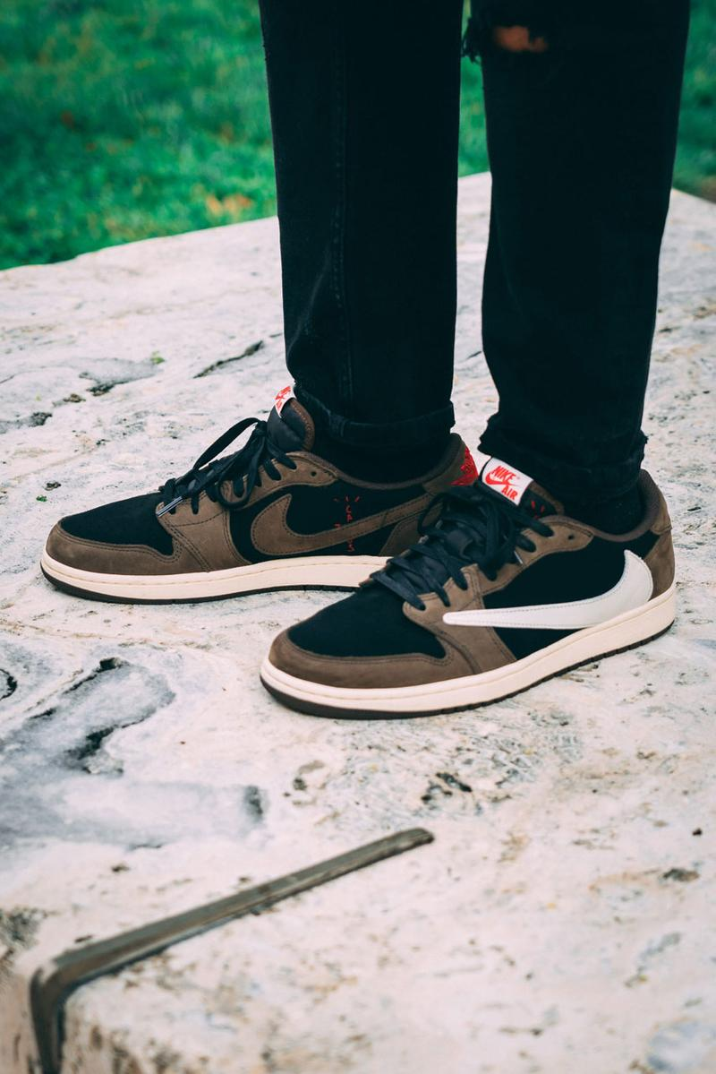 9e9b7641996e15 Travis Scott x Air Jordan 1 Low On-Feet Closer Look Photos imagery sneaker  colorway