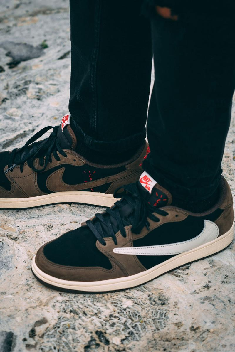 buy online 5c81b 350e6 Travis Scott x Air Jordan 1 Low On-Feet Closer Look Photos ...