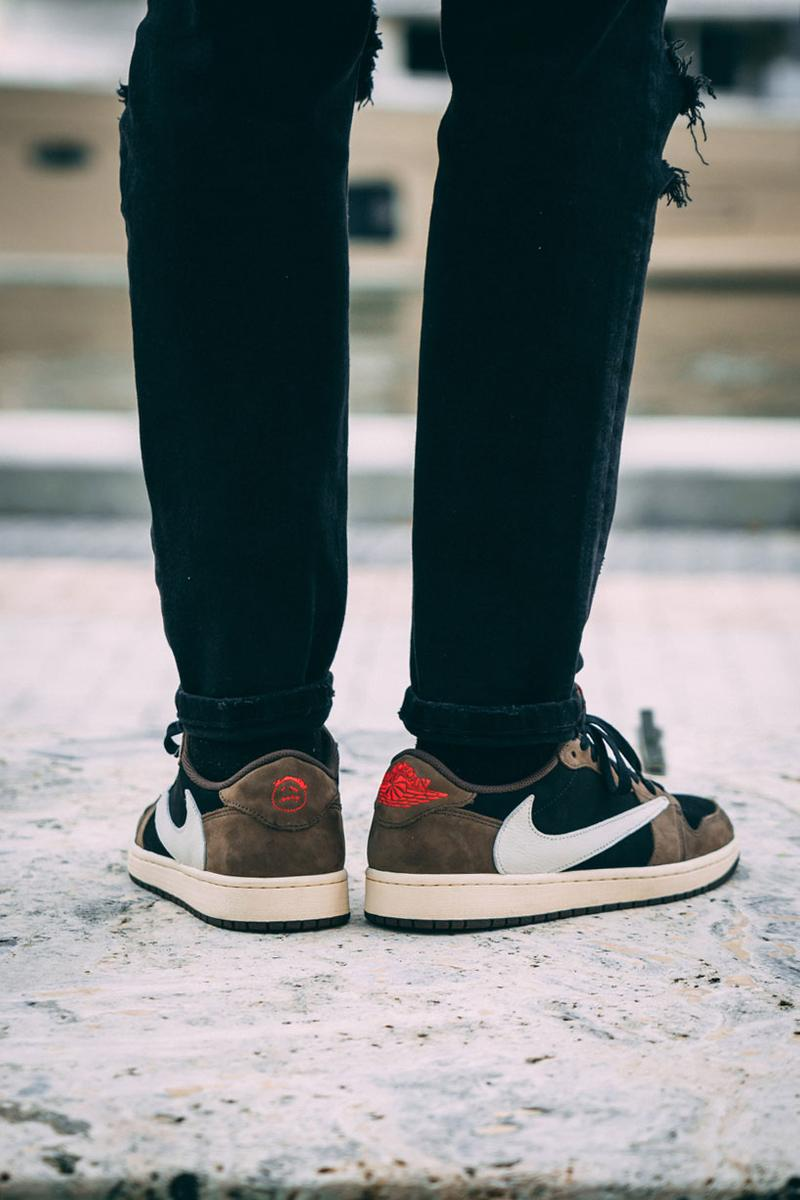 the best attitude 17848 490f1 Travis Scott x Air Jordan 1 Low On-Feet Closer Look Photos imagery sneaker  colorway