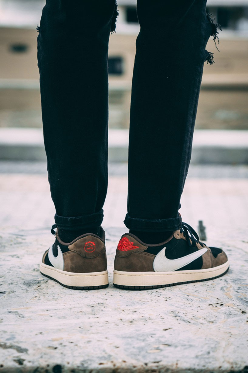 7a07f51f Travis Scott x Air Jordan 1 Low On-Feet Closer Look Photos | HYPEBEAST