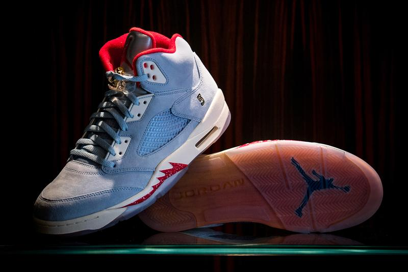 "Trophy Room x Air Jordan 5 Retro ""Ice Blue"" Drop release info date buy red colorway friends family may 23 2019 exclusive marcus michael jordan celine orlando florida sail"