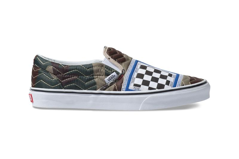 vans classic slip on mixed quilting camo white colorway release camouflage brown green blue black white checkers