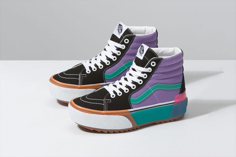 "Vans ""Stacked"" Platform Era and Sk8-Hi Sneakers confetti fairy wren sea green checkerboard white colorway"