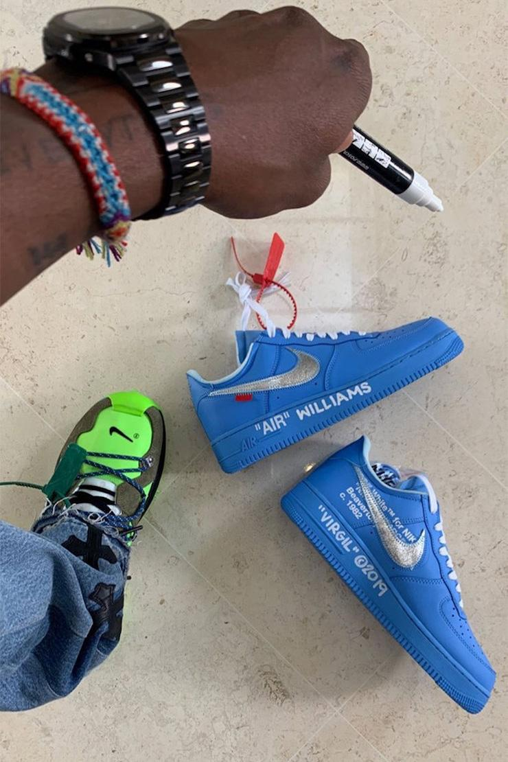 """Virgil Abloh Gifts Serena Williams the Off-White™ x Nike Air Force 1 in """"University Blue"""" af1 Museum Of Contemporary Art in Chicago mca"""