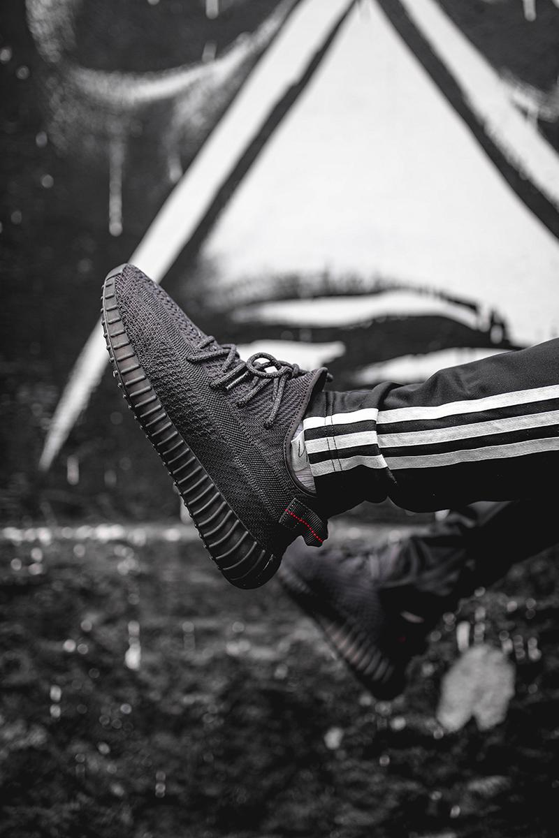 adidas Originals YEEZY BOOST 350 V2 Triple Black colorway release date info details buy on feet closer look details colorway