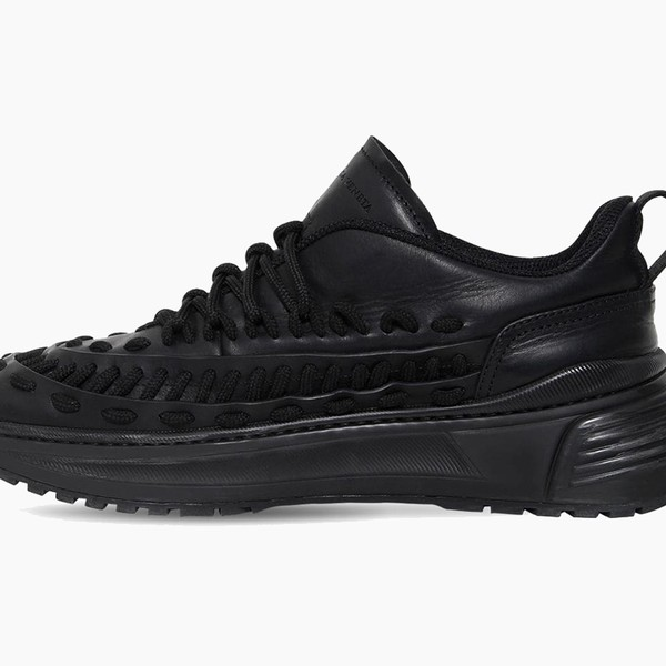 Bottega Veneta Black Laces Low-Top Leather Sneakers