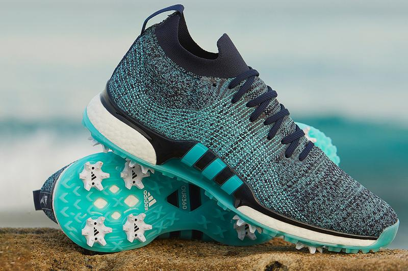 adidas golf tour360 tour 360 xt parley upcycled plastic ocean waste blue aqua green sneaker release us open pebble beach