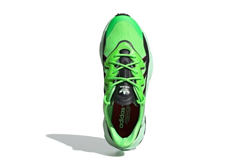 adidas Originals Ozweego Solar Green Core Black footwear adiprene midsole three stripes mesh leather pipes eva cushion tpu shock absoprtion