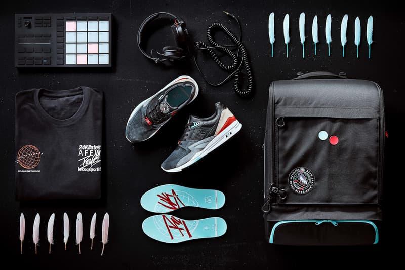 "AFEW x 24 Kilates x DJ Rafik x Le Coq Sportif R800 ""Crane Network"" Sneaker Release Information Drop Date Collaboration Limited Edition Made in France Leather Suede Premium Details Pinq Ponq Bad T-Shirt"