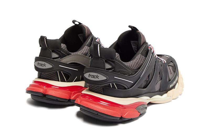 Balenciaga Track Sneaker Black Grey Red Beige Pre-Fall 2019 Chunky Sneaker Mesh Trainers Demna Gvasalia Laser Cut Panels 3M Detailing Release Information Cop Online Buy Now MATCHESFASHION.COM