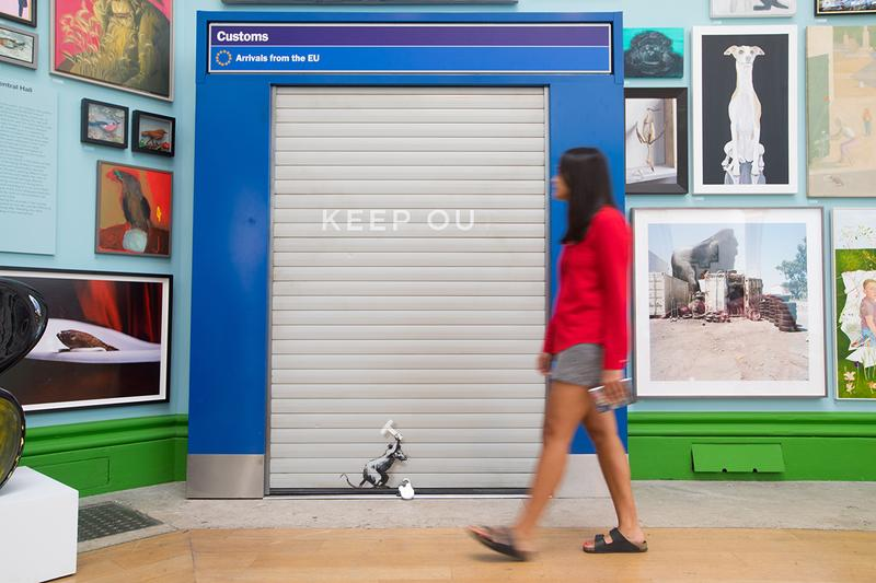Banksy 'Keep Ou' 2019 Artwork Anti-Brexit EU Arrivals Post Customs Rat Graffiti London's Royal Academy Annual Summer Exhibition Closer Look