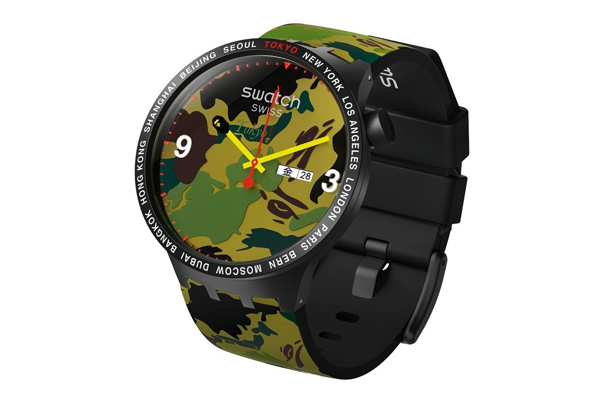 BAPE x Swatch Collaboration, Pre-Release Event Recap watches timepiece colorway city london new york berlin international first camo pattern 1993 june 15 2019 buy