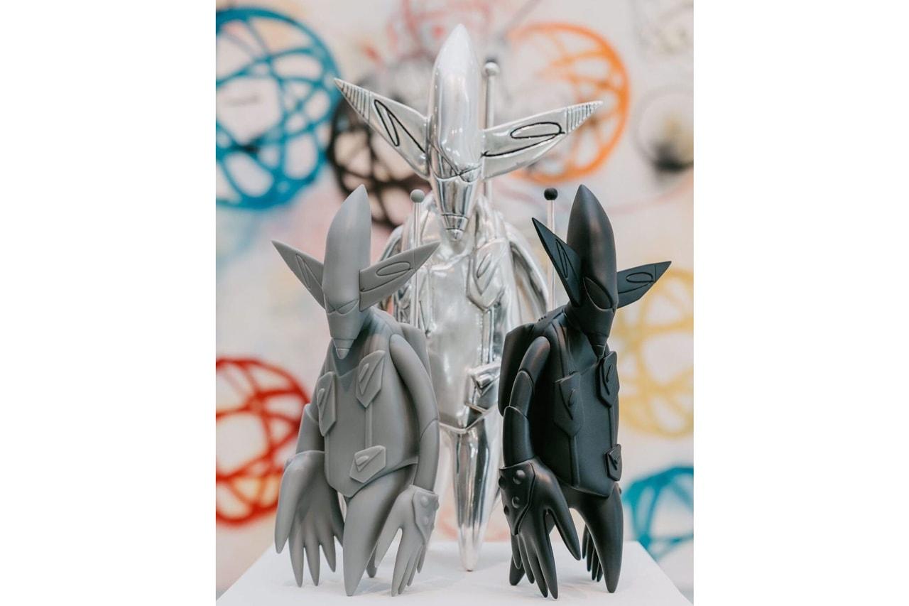 tom sachs virgil abloh studio arhoj brick series ceramic sculptures hebru brantley two men sporting waves lithographs compound gallery dragon