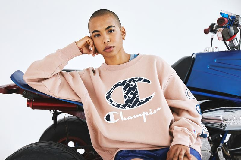Champion x Amazon Prime Day 100 Year Anniversary capsule sweater atv four-wheeler ombre pink blue red wite tattoo