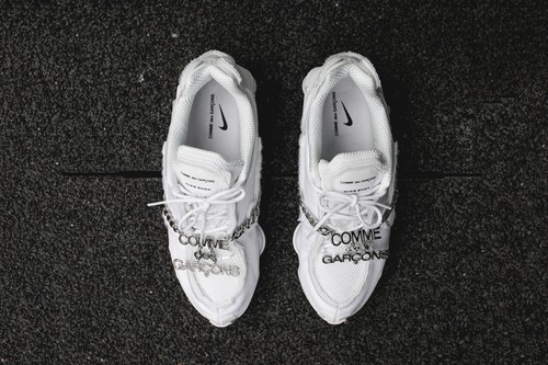 "COMME des GARÇONS x Nike Shox TL in ""Triple White"" Closer Look"
