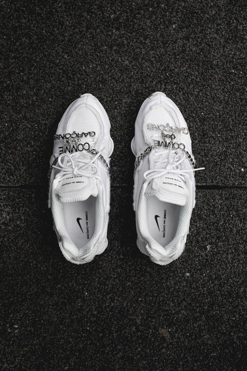 "COMME des GARÇONS x Nike Shox TL ""Triple White"" Closer Look hypebeast france silver chain"