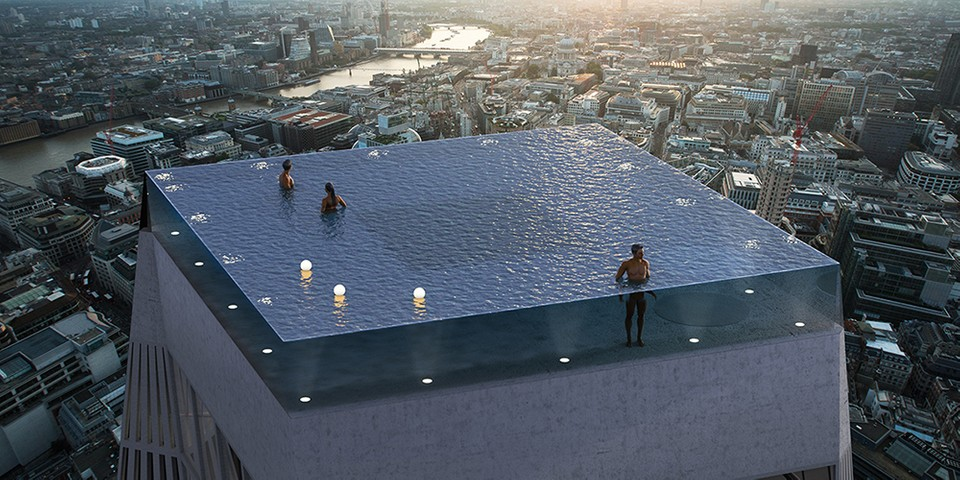 Compass pools planning 360 degree infinity pool in london - Swimming pools with waterslides in london ...