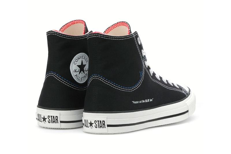 Converse All Star Cut Line Chuck Taylor White Black Red Customize Japan Scissors 1970 fraying low two tone duo color