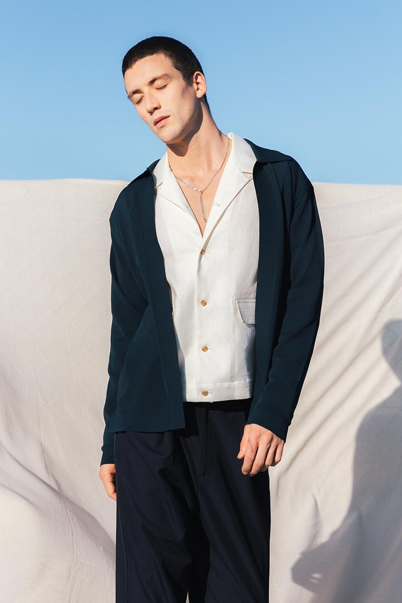 Deveaux Spring Summer 2020 SS20 Collection Lookbooks Informal Tailoring Relaxed Bowling Shirts Camp Collars Natural Marble Prints Big '80s Suits Blue Orange Burgundy Brown White Summer Looks