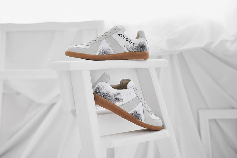 end clothing maison margiela 22 replica graffiti sneaker first look white grey black gum sole paint spray images buy launches register order