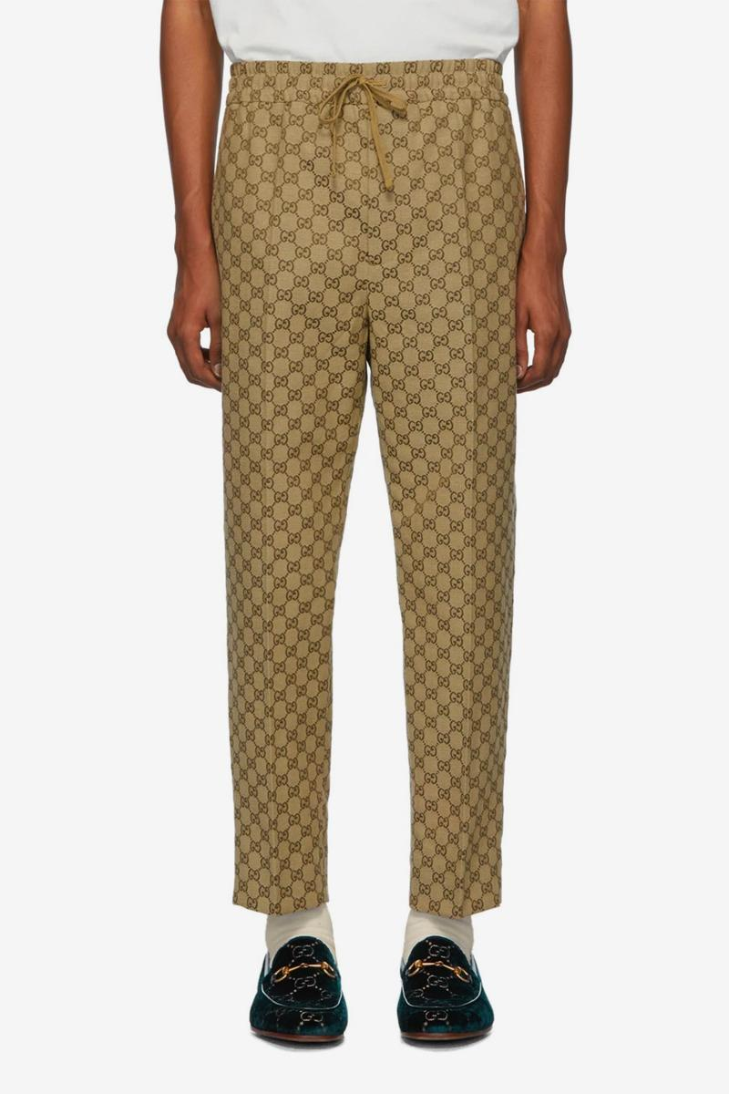 Gucci Brown GG Logo jacquard Suit & Patch Cap Release Info blazer jacket trousers joggers info price ssense buy now