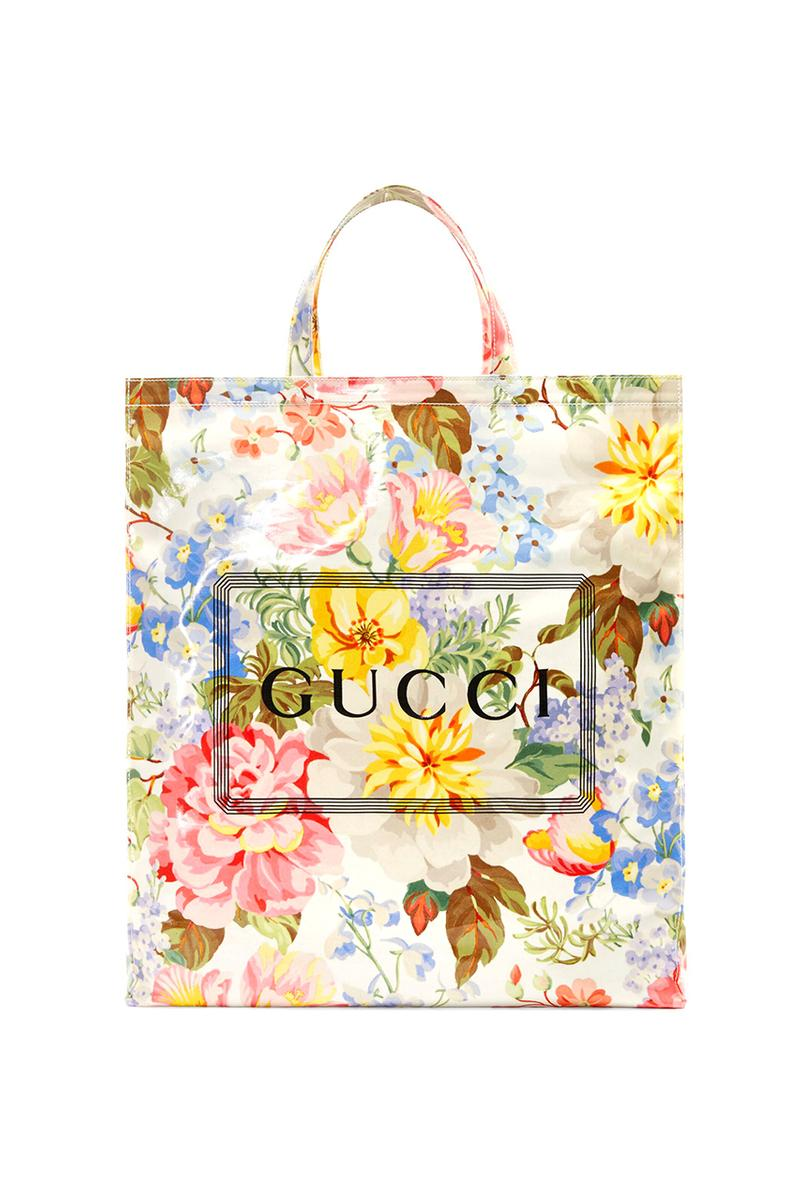 Gucci Menswear Tote Bags Runway Ad Campaing Coated Cotton Floral Check Box Print Pink Black Yellow Burgundy $790 USD Pre-Fall 2019
