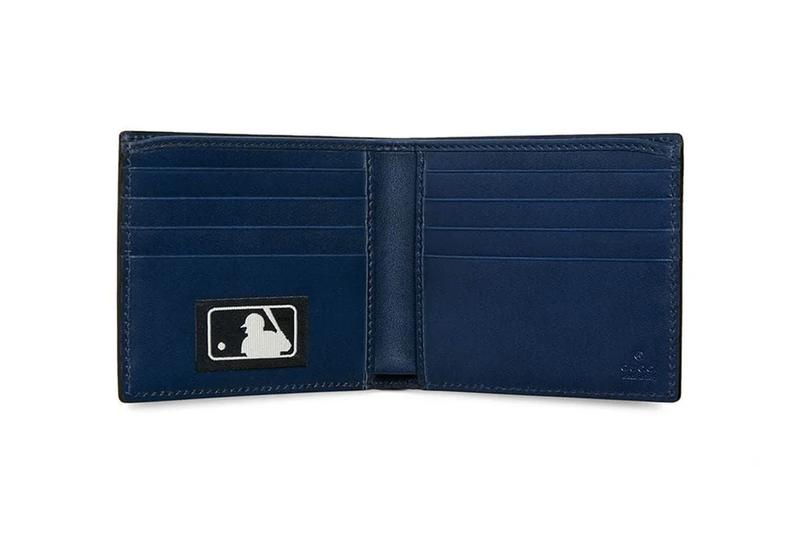 Gucci NY Yankees Patch Wallet Blue MLB Baseball Collaboration bi fold