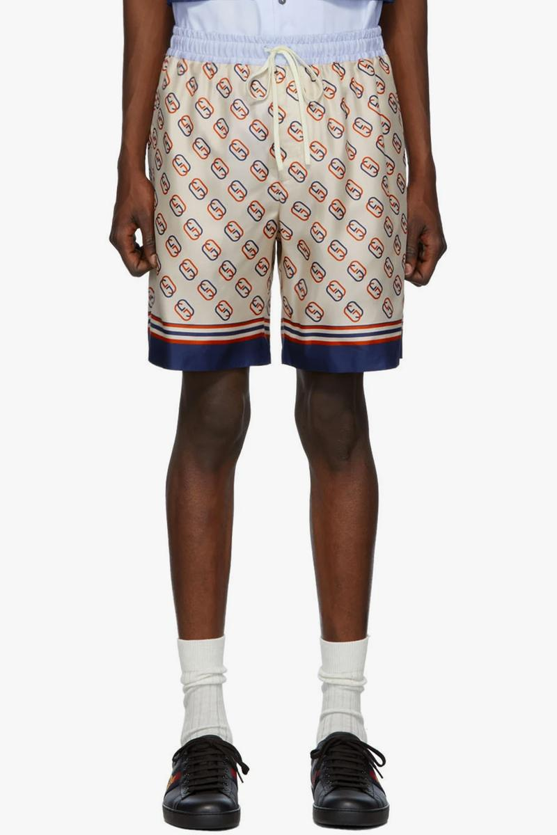 Gucci Red Blue GG Print Silk Shorts &  Denim Jacket Release SSENSE Italian Gucci Jackets Shorts Luxury