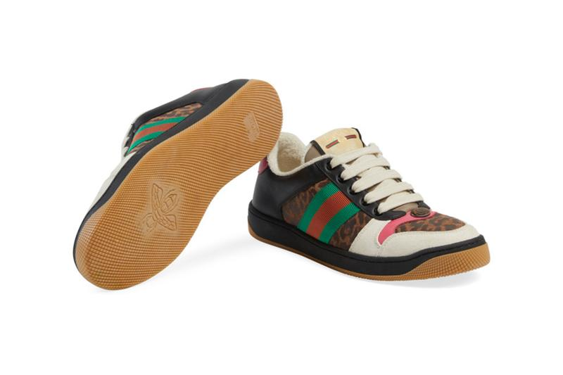 Gucci Screener Sneaker Leopard Release Online Exclusive pink green red Alessandro Michele