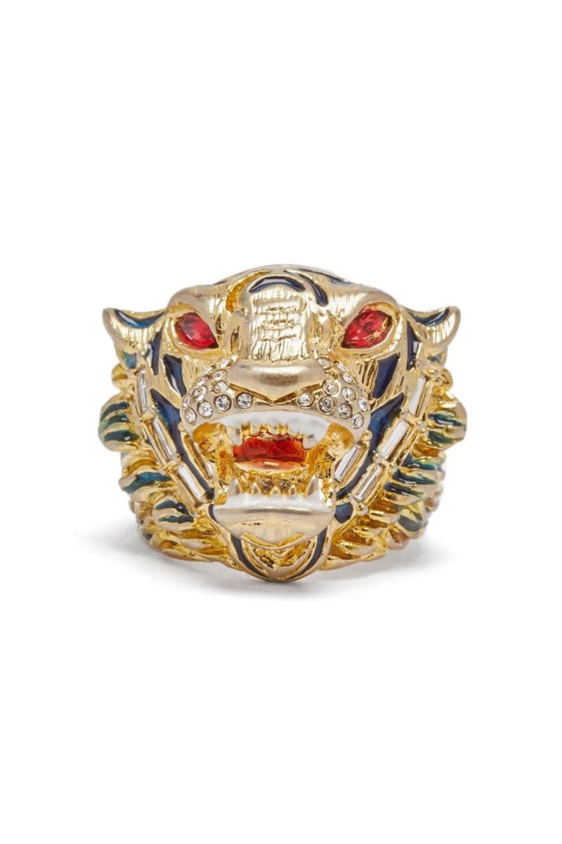 Gucci Crystal Embellished Tiger Head Ring Alessandro Michele Black Filigree Engraving Interior Engraved Logo Red Silver Crystals Metal Italy Crafted Antique Vintage Look