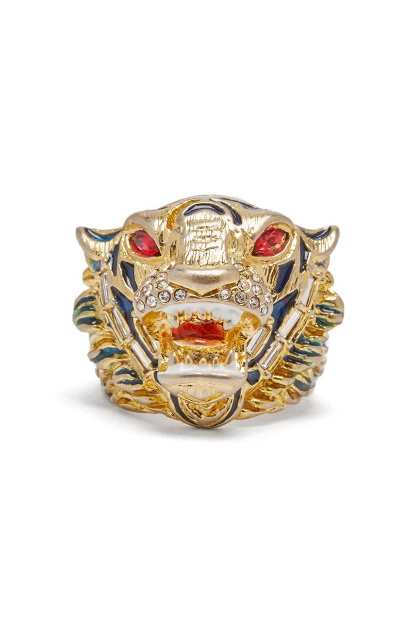 4c08d484c Gucci Drops Antique Gold Crystal-Embellished Tiger Head Ring