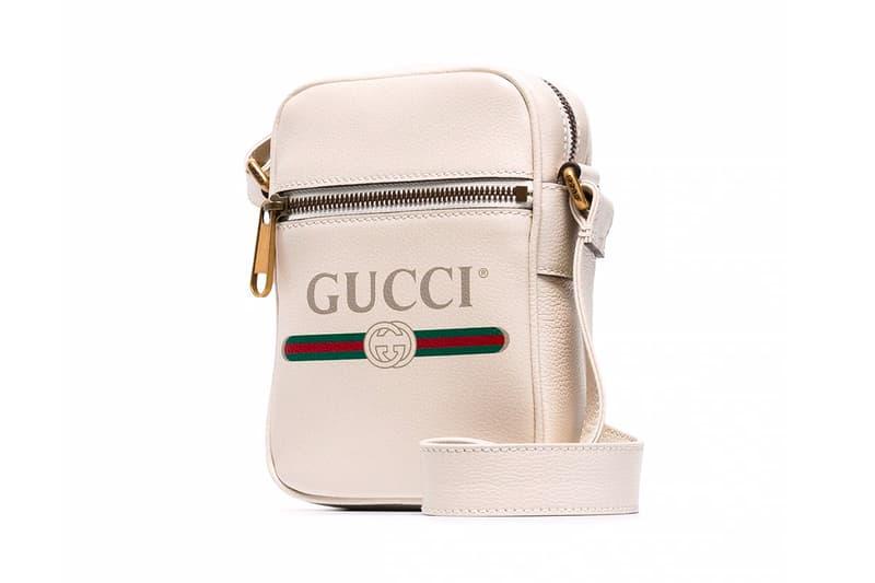 Gucci White Logo Print Leather Messenger Bag red green classic retro