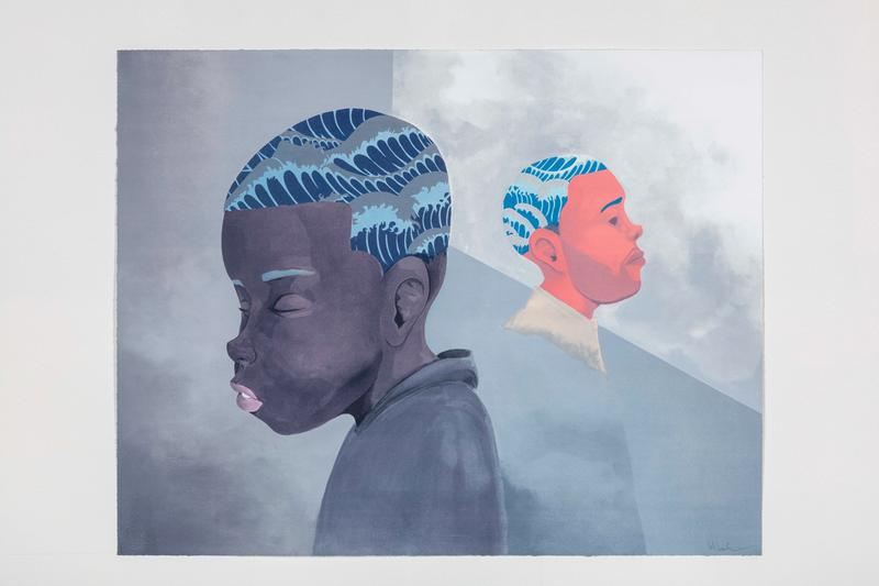 hebru brantley two men sporting waves lithograph print them all galerie des bains artworks
