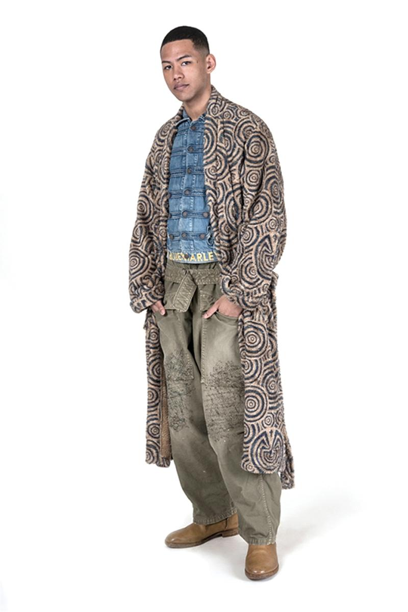 KAPITAL Fall Winter 2019 Collection Paisley deconstructed denim indigo patchwork knitwear drab boro baggy pants Japanese label