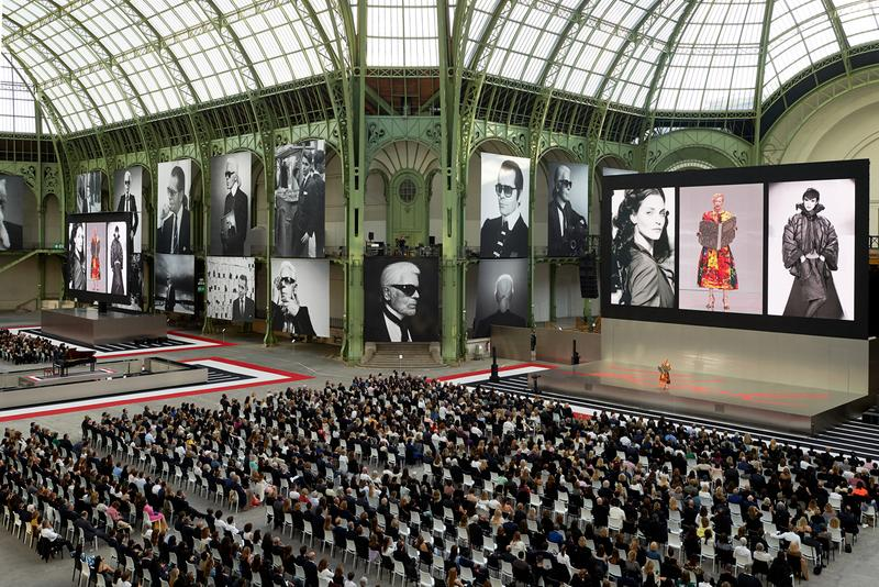 chanel fendi karl lagerfeld paris memorial tribute performances grand palais pharrell williams gigi hadid tilda swinton