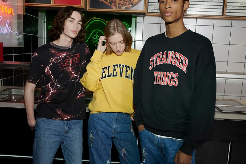 Levi's Stranger Things Capsule Collection Lookbook Netflix Series Season 3 Fall Winter 2019 FW19 Drop Mens Womens First Look 1985 Eleven Dustin Graphic T Shirts Sweatshirts Trucker Hat